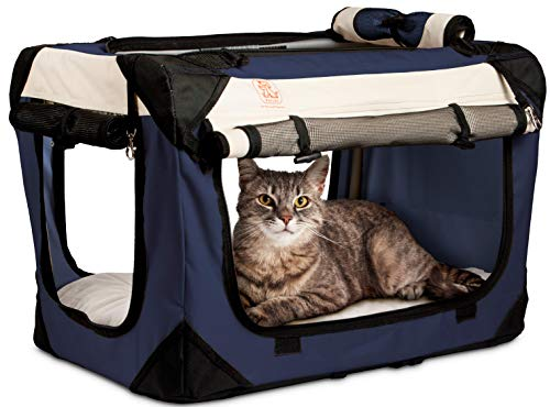 PetLuv 'Happy Cat Premium Cat Carrier Soft Sided Foldable Top & Side Loading Pet Crate & Carrier...