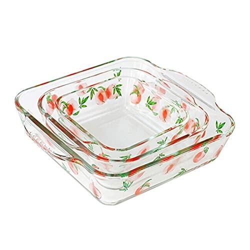 liangzishop Conjunto de Platos de cazuela de Vidrio, 3 Piezas cuadradas para Hornear - Asas de Agarre para facilitar el Horno Caliente a la Mesa, Brownie sartenes para la Cena de Pastel, Cocina