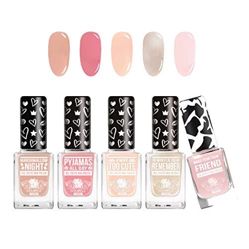 COTTON CANDY QUEEN Nagellack Geschenk Beauty Set (5x 12ml) Farblack Schnelltrocknend Nude Rosa von...
