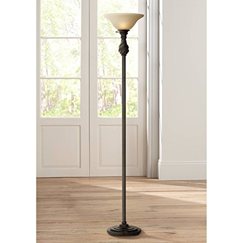 Traditional Torchiere Floor Lamp Hand Applied Black Bronze Swirl Font Amber Glass Shade for Living Room Uplight - Regency Hill