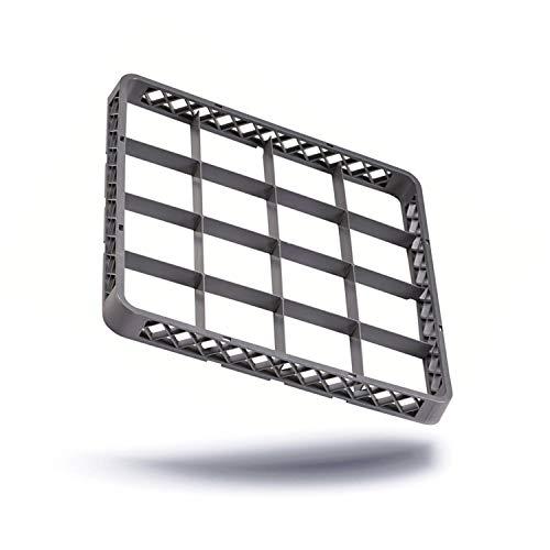 Kerafactum® - Aufsatz Rahmen für Spülkorb Korb Erweiterungselement für Körbe mit 16 Felder Fächer für Gläser für die Gastro Spülmaschine Spülmaschinenkorb aus Kunststoff 50x50 cm erweiterbar - rack extender