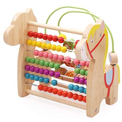 YXDS Ábaco aritmético Ábaco aritmético de Caballo de Madera para iluminación de educación de Colores y números de la Primera Infancia