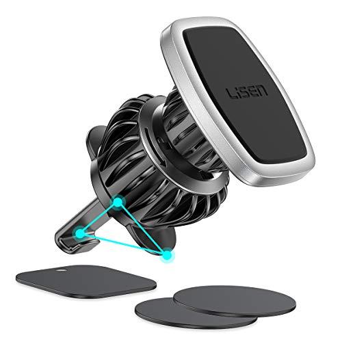 LISEN Handyhalterung Auto Magnet, [6 Starke Magnete] Magnethalter Handy Auto [Upgraded CLAMP] Magnet Handyhalterung fürs Auto [360°Drehbar] KFZ Handyhalterung Magnet Für iPhone Samsung Huawei-Silber