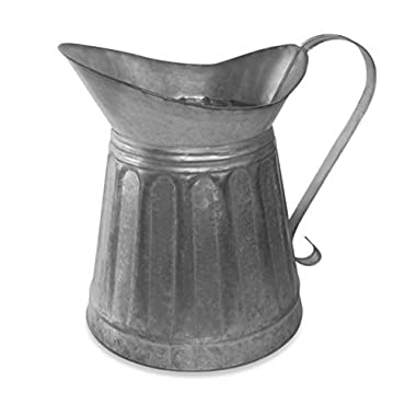 CTW Metal Milk Pitcher Rustic Farmhouse Decor, Galvanized Steel, 12-inch Height