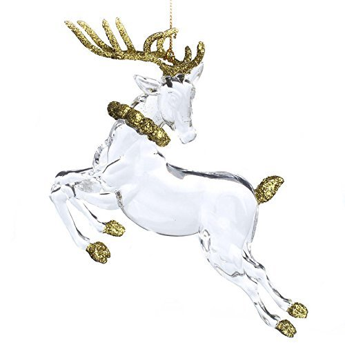 Christmas Ornament Group of 12 Glizy Gold Glitter and Clear Acrylic Reindeer for Favors, Tree Trim, and Decorating