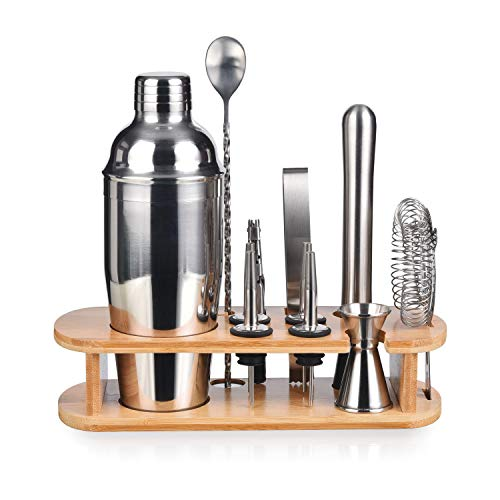 Bartender Kit with Stylish Bamboo Stand, 12 Piece Cocktail Shaker Set for Mixed Drink, Professional Stainless Steel Bar Tool Set - Cocktail Recipes Booklet (25 oz)