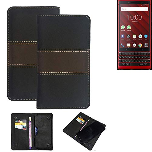 K-S-Trade® Handy Hülle Für BlackBerry KEY2 Red Edition Schutzhülle Walletcase Bookstyle Tasche Schutz Case Handytasche Wallet Cover Kunstleder Snapcase Dunkelbraun, 1x