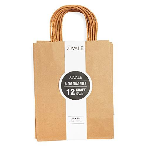 Bolsas de papel Kraft marrón, bolsas de papel con asas, ideales como bolsas de regalo de boda, bolsas de regalo de recuerdos de regadera, bolsas de regalo de fiesta nupcial, medianas, 20 x 25 x 11.43 cm, Paquete de 12