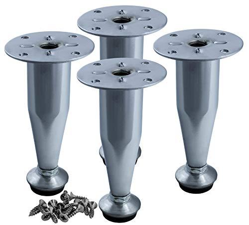 4er SET Möbelfüße höhenverstellbar | Form: Kegel | Höhe: 100 mm (+10 mm) | Farbe: Chrom | Material: Stahl | Schrauben enthalten | HEXATON