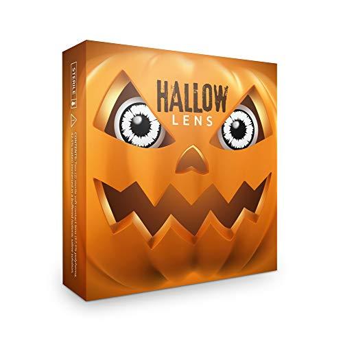 Hallowlens® Lentillas de Color 'New Vampire' + recipiente de lentillas. En blanco y negro, blandas, sin dioptrías pack de 2 unidades - cómodas y perfectas para Halloween, Carnaval, sin corregir
