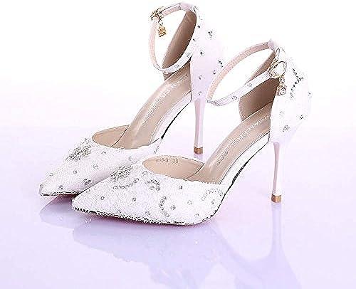 SISHUINIANHUA zapatos de la Boda de Las mujeres Dama de Honor y la Novia Princesa Dulce tacón de Aguja Dedo Punta Sandalias de tacón Alto zapatos de Baile blanco