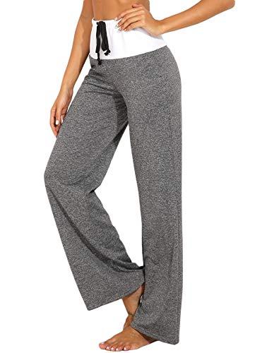 INSTINNCT Damen Hose Jogginghose Freizeithose Schlaghosen Weites Straight Bein mit Tunnelzug #3 Grau-weiß XL