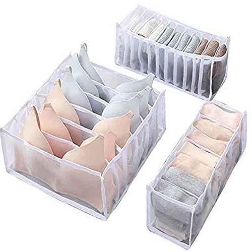 Juego de 3 organizadores de cajones de ropa interior, sujetador, calcetines, bragas, cajas de almacenamiento, organizadores de armario, armario, para armario plegable, separador de cajones (blanco)
