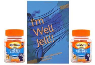 Haliborange Teens Omega-3 and Multivitamins Orange 30x2 Softie Bundle and Well Jell Self Affrmation Note Book