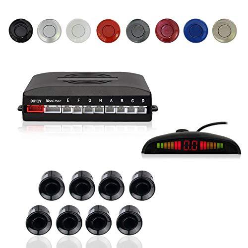 Radar Aparcamiento Sensor Sistema, Cocar Coche Aparcamiento Kit con 8 Estacionamiento Sensores + Detección de Distancia + Sonido Advertencia(Negro Color)