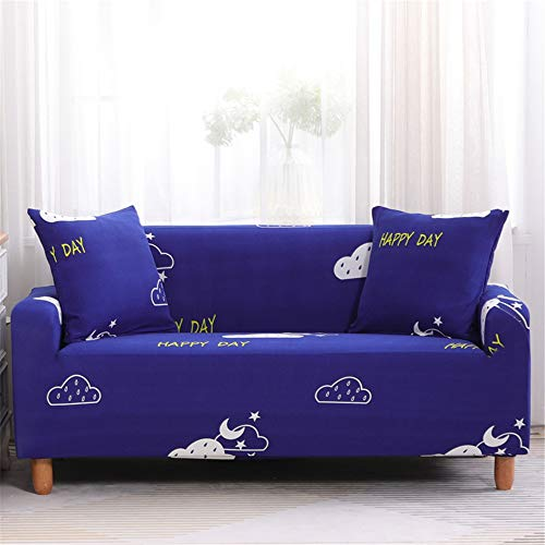 Surwin Funda de Sofá Elástica para Sofá de 1 2 3 4 plazas, Impresión Universal Cubierta de Sofá Cubre Moda Sofá Antideslizante Sofa Couch Cover Protector (Nube de Luna,4 plazas - 235-300cm)