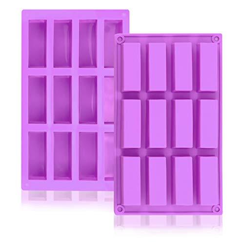 Molde rectangular de silicona, 2 unidades,12 cavidades flexibles y antiadherentes,para hornear, pan ,Brownie, Cheesecake,Nutrición Energía Cereal Chocolate Bar Molud,Jabón