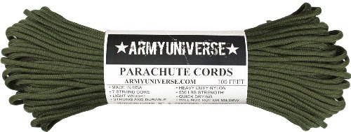 Army Universe Olive Drab Nylon Military Paracord 550 lbs Type III 7 Strand Utility Cord Rope USA Made 100 Feet