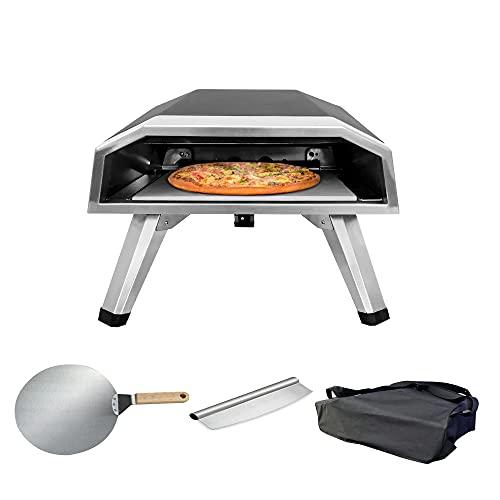 Horno de pizza de gas para exteriores, máquina de pizza de gas propano, horno de gas portátil con piedra para pizza para jardín, camping, patio trasero, fácil de limpiar