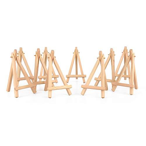 ewtshop® 10 x Mini Staffeleien, kleine Holz Tafel Display, Halterung Staffelei Foto Memo Halter Platzkartenhalter Namenschilder und vieles mehr