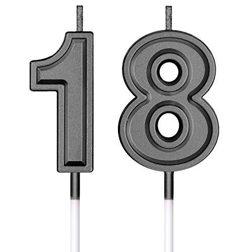 Velas de Cumpleaños 18 Velas de Numeros de Pastel Topper Decoración de Pastel de Feliz Cumpleaños para Cumpleaños Boda Aniversario Celebración (Negro)