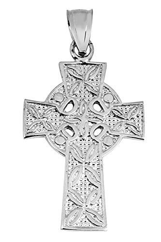 Solid 14k White Gold Irish Celtic Cross Trinity Pendant