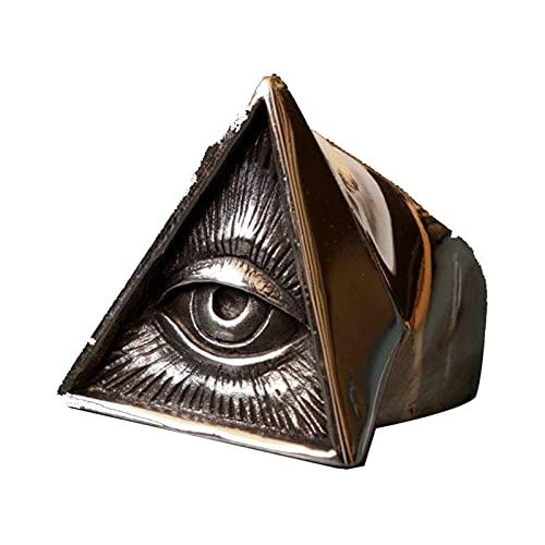 Anillo De Motorista De Acero Inoxidable Para Hombre Cráneo Color Plateado Masón Illuminati Triángulo Anillos Masónicos Punk Rock Locomotora Gótica Anillo Religioso Joyería13