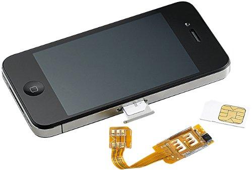 Callstel Dualsim kompatibel mit iPhone: Dual-SIM-Adapter iPhone 4/4s mit Slot für zweite SIM-Karte (Dualsim-Adapter für iPhone 4)