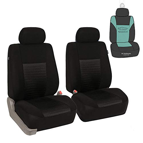 FH Group FB060102 Trendy Elegance Pair Set Bucket Car Seat Covers, (Airbag Compatible) w. Gift, Solid Black Color-Fit Most Car, Truck, SUV, or Van