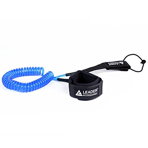 Leader Accessories 11' Coiled SUP Leash Super Strong 7.2mm Urethane Coil for SUP Paddle Boarding and Surfing