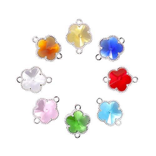 PandaHall 50 conectores de flores de cristal para abalorios, colgantes, cuentas con parte trasera abierta de plata Berzel para hacer collares y pulseras (color mixto)