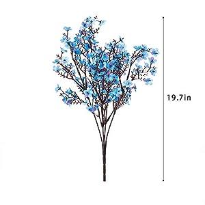mehelany baby breath artificial flowers, 4 pcs gypsophila fake flowers bouquet 5 branch silk flowers for home, wedding, party, diy decoration (blue, 4) silk flower arrangements