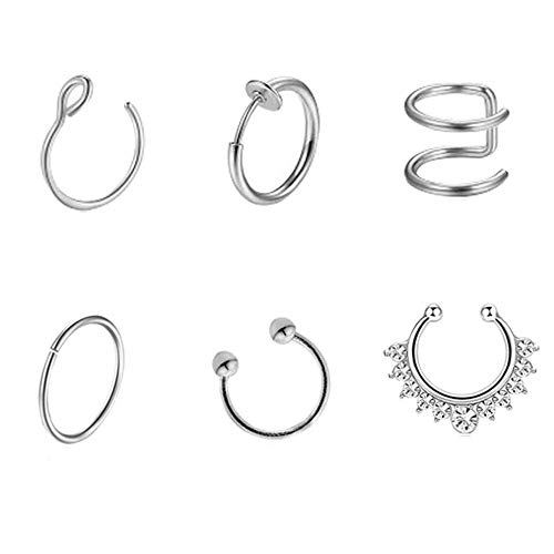Vixzero 6pcs Fake Nose Rings Stainless Steel Faux Nose Piercing Jewelry Fake Nose Hoop Ring Clip on Circle Hoop Rings No Pierced Septum Nose Ring Women Men Body Jewelry (Steel Color)