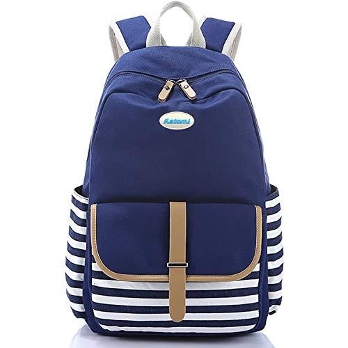Katomi Canvas Backpack Womens,Classic Navy Stripy Rucksack Travel School Shoulder Backpacks for Teenage Girls Boys