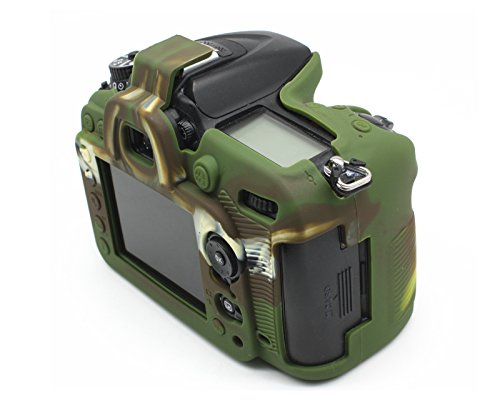 Cámara profesional de JUNIPA siicone carcasa Carcasa de Goma para Nikon D7100D7200Cámara réflex digital-Negro
