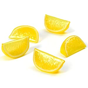 Hagao Artificial Fruit Yellow Lemon Block Wedge Slice Simulation Lifelike Fake for Home Party Kitchen Decoration Teaching Aids-10 pcs