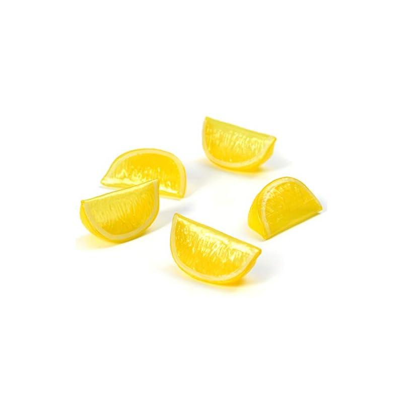 silk flower arrangements hagao fake lemon block artificial fruit wedge slice simulation lifelike fake for home party kitchen decoration teaching aids- yellow 10 pcs