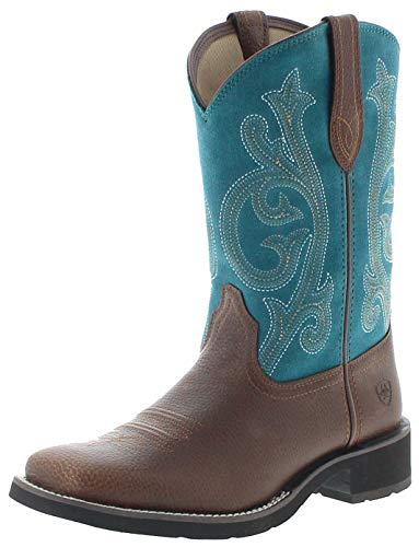Ariat Damen Cowboy Stiefel 25031 PRIM Rose Westernreitstiefel Lederstiefel Braun Türkis 41 EU