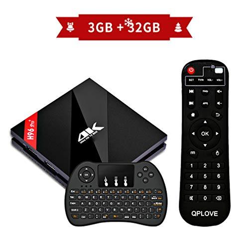 H96 Pro+ 3GB+32GB TV Box,Neuste Android 7.1 TV Box mit Amlogic S912 Octa-Core CPU,4K Ultra HD Set Top Box Unterstützt Dual-WiFi 2.4G / 5G und LAN Schnittstelle mit Fernbedienung