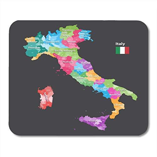 Muis Pads Alessandria Italiaanse Italië Provincies Kaart Gekleurd door Regio's Alle Lagen Afneembaar en Gelabeld Abruzzo Mouse Pad