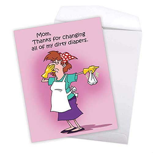 Dirty Diapers - Big Funny Mother's Day Card with Envelope (Extra Large 8.5 x 11 Inch) - Stationery Notecard for Mom Who Loves Changing Your Diapers - Greeting Card for Mothers J1599MDG Photo #6