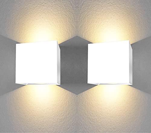 Apliques Pared led Set 2 uds Forma Cuadrada 6W Aplique Pared Interior Salon Dormitorio pasillos Negocios lampara Pared Color Blanco luz Calida