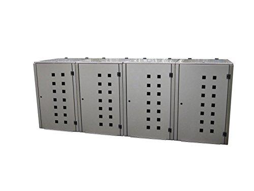 Mülltonnenbox Edelstahl, Modell Eleganza Quad11 als Viererbox für 240 Liter Tonnen