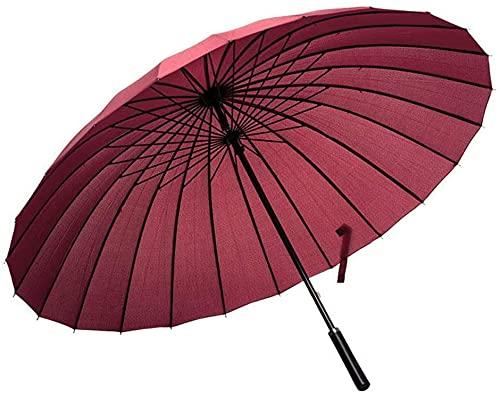 BESPD Paraguas Hombres Y Mujeres Largo Mango 24 Hueso Grande Doble Mango Largo Baro Negocio De Dos Propósitos Paraguas Paraguas,Rojo