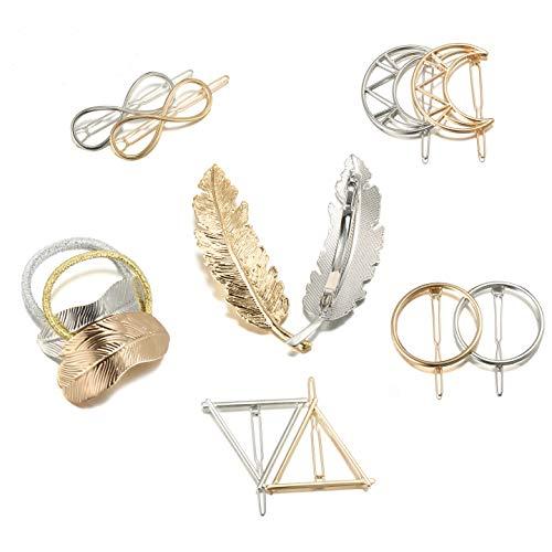 Metall Haarklammern Haar Pin Spangen, ieasky 12 Stück Haarspangen Haarnadeln Blatt/Feder/Kreis/Dreieck/Infinity/Moon Haarspange für Mädchen Dickes Haarstyling