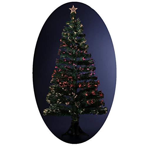 FEERIC LIGHTS & CHRISTMAS Albero di Natale Artificiale Luminoso con Fibra Ottica a Luce variabile – consegnato col Piede – Altezza: 120 cm