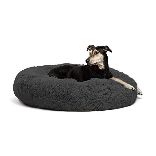 Deluxe Haustierbett für Katzen und Hunde, warmes Plüsch, Donut-Hundebett, Kuschelhütte, weiches Welpen-Sofa, Katzenkissen, Nest, abnehmbarer Schlafsack, XXL, Grau