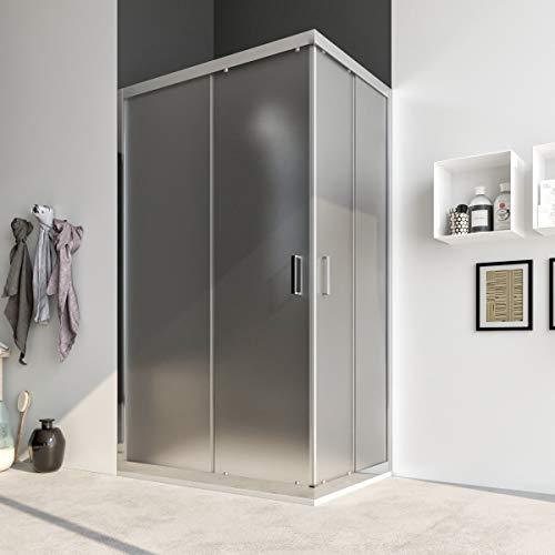 Box doccia cabina angolare 70 75 80 90 100 110 120 140 cm porta scorrevole vetro cristallo anticalcare 6mm ACACIA (80x100 cm, Vetro: OPACO)