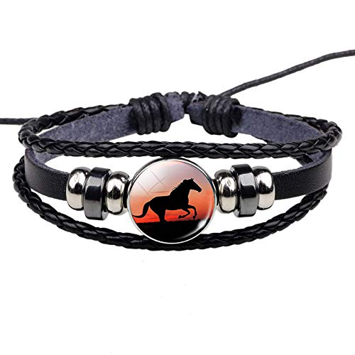 n a Horse Bracelet Crazy Horse Jewelry Black Punk Leather Glass Button Bracelet Unisex Accessories Animal Lovers Gift