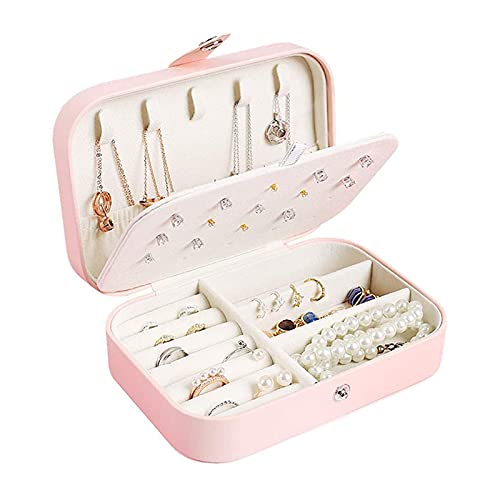 Chahu Joyero de viaje con 3 capas, anillos, pendientes, collar y soporte para joyas, organizador portátil para mujeres y niñas
